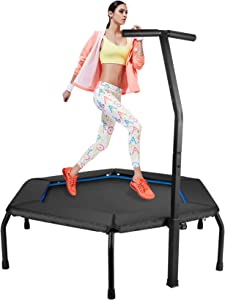 ZIZILAND Upgrade 48in Professional Hexagonal Fitness Trampoline with Height Adjustable Handle Bar, Silent Cardio Exercise Rebounder Trainer for Home Gym Workout, Super Easy Assembly