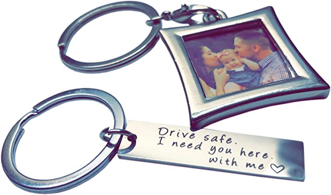 Drive Safe Keychain I Need You Here With Me And Elegant Mini Photo Frame, Perfect Gift For Someone You Love, Trucker Husband Or For Boyfriend, Couples ...