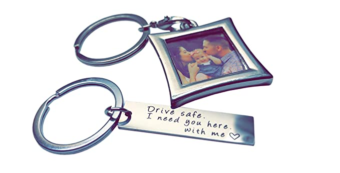 Drive Safe Keychain I Need You Here With Me And Elegant Mini Photo Frame,  Perfect Gift For Someone You Love, Trucker Husband Or For Boyfriend,  Couples