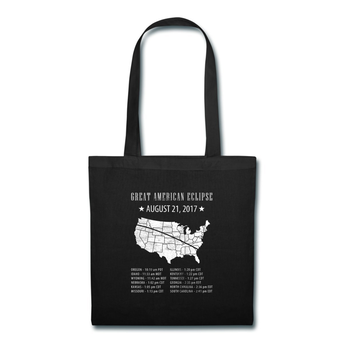 Spreadshirt Great American Solar Eclipse States Times Tote Bag, black