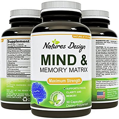 Amazing Nootropics Booster - Focus Brain Memory Support - Supplement for Adults, Women & Men - Cognitive Enhancement + Focus - USA Made By Natures Design
