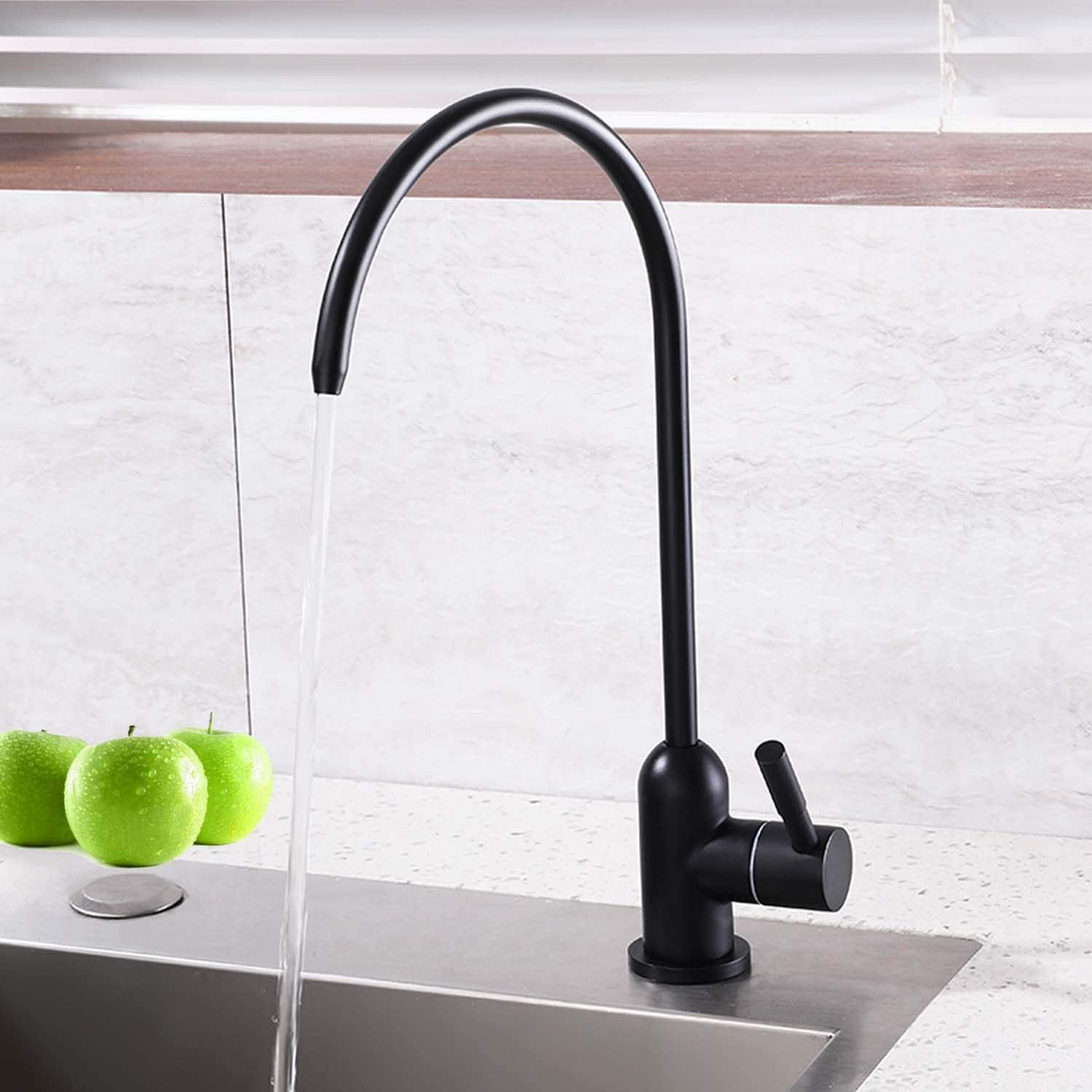 FANHAO Kitchen Water Filter Faucet,Stainless Steel Lead Free Drinking Water Faucet Fits most RO Units or Water Filtration System – Matte Black Finish,1 4 Inch Tube Quick Connector, Non-Air Gap