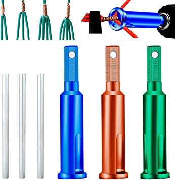 4 Pcs Wire Twisting Tools Upgrade Wire Stripper and Twister both Manual/&Electric 4, Blue and Orange Wire Terminals Power Tools for Stripping and Twisting Wire Cable
