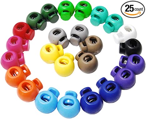 Mix-s 25pcs Colorful Cord Ends Bell Stopper with Lid Lock Plastic Toggle Clip for Paracord Clothes Accessories FLS047