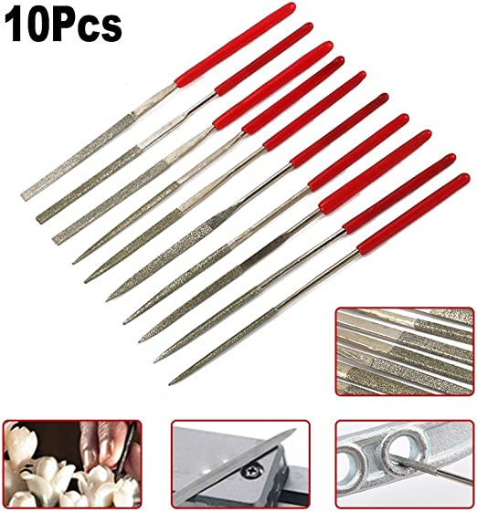 100mm Length Diamond Coated Needle File Set 10 in 1 for Metal Glass