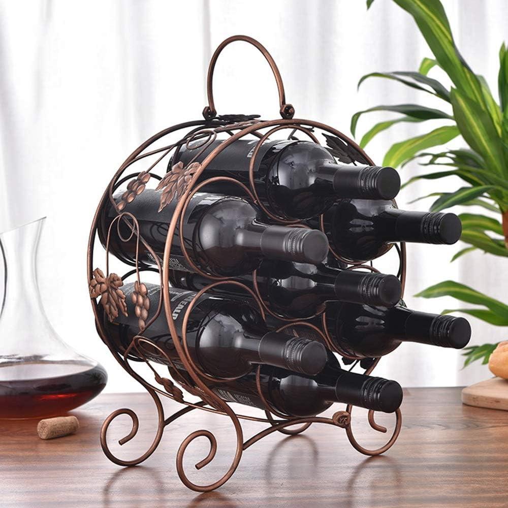CYHJJzgl Caja De Almacenamiento De Vino, Botellero De Hierro Forjado, Expositor De Vinos, Botellero Doméstico, 7 Rejillas