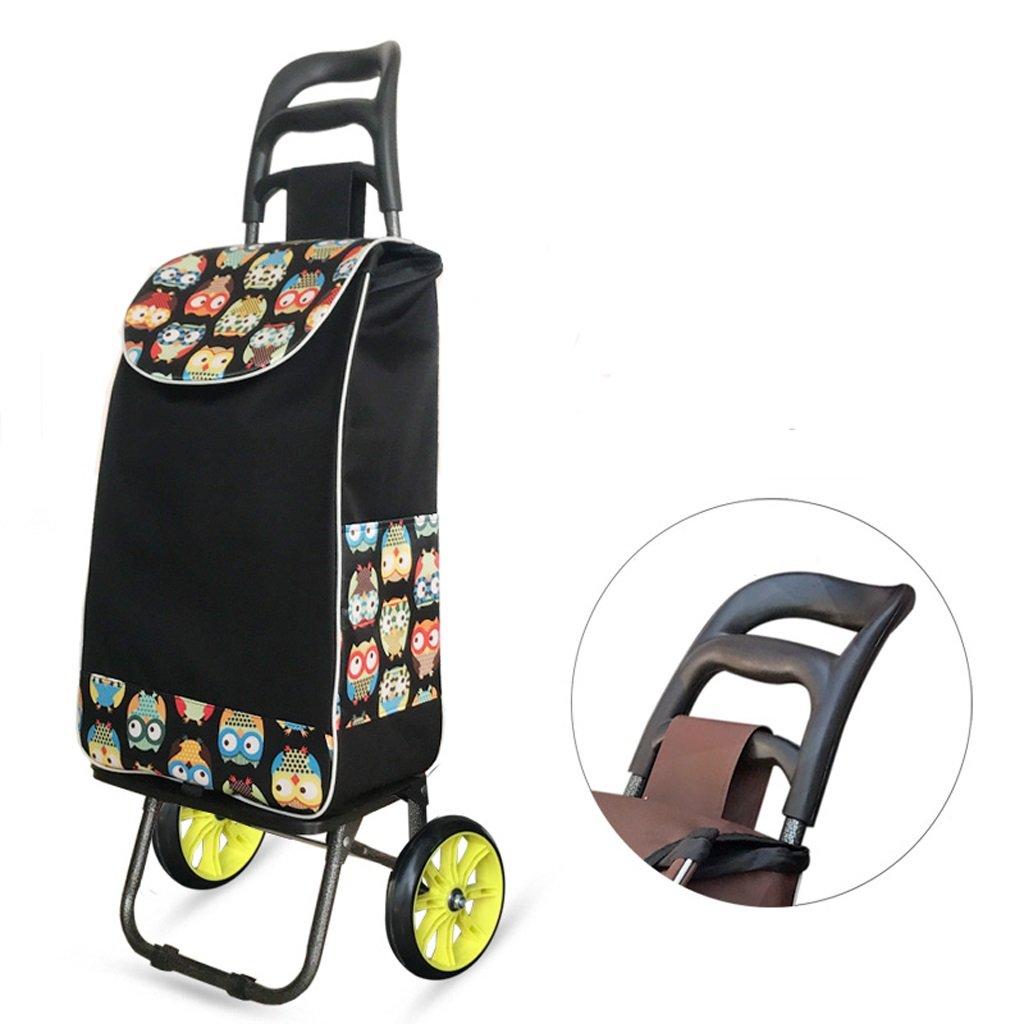 QX IAIZI Carrito Plegable de Gran Capacidad para Carro de Equipaje Shopper de 2 Ruedas - Negro (Color : Black-B)