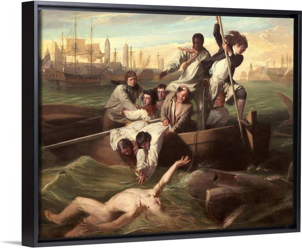 "Watson and The Shark, by John Singleton Copley, 1778"" Black Floating Frame Canvas Art, 16""x13""x1."