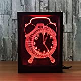 LT&NT Clock 3d optical illusion visual night light, Touch + remote control led desk Table lamp, 7 colors change usb, Kids toy baby sleeping nightlight, Photo frame christmas gift decoration-A