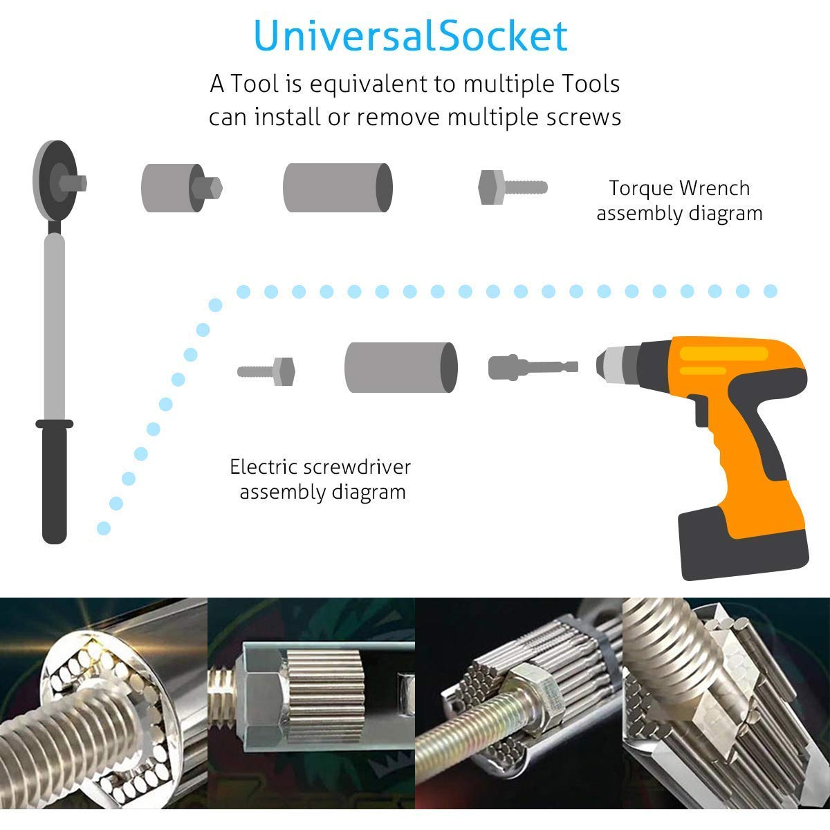 4 PCS Universal Socket Wrench Set 7-19mm Multi-function Hand Tools Universal Repair Tools Kit,105 Degree Right Angle Extension Power Screwdriver Drill Attachment 1//4 Drive 6mm Hex Magnetic Bit