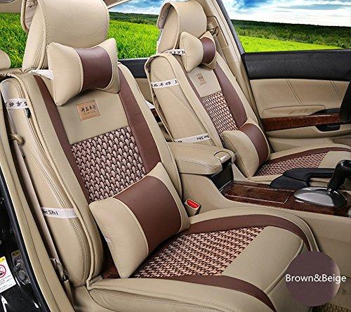 Amooca VTI Universal Front Rear Car Seat Cushion Cover Brown&Beige 10pcs Full Set Needlework PU - Seat Brown Cover