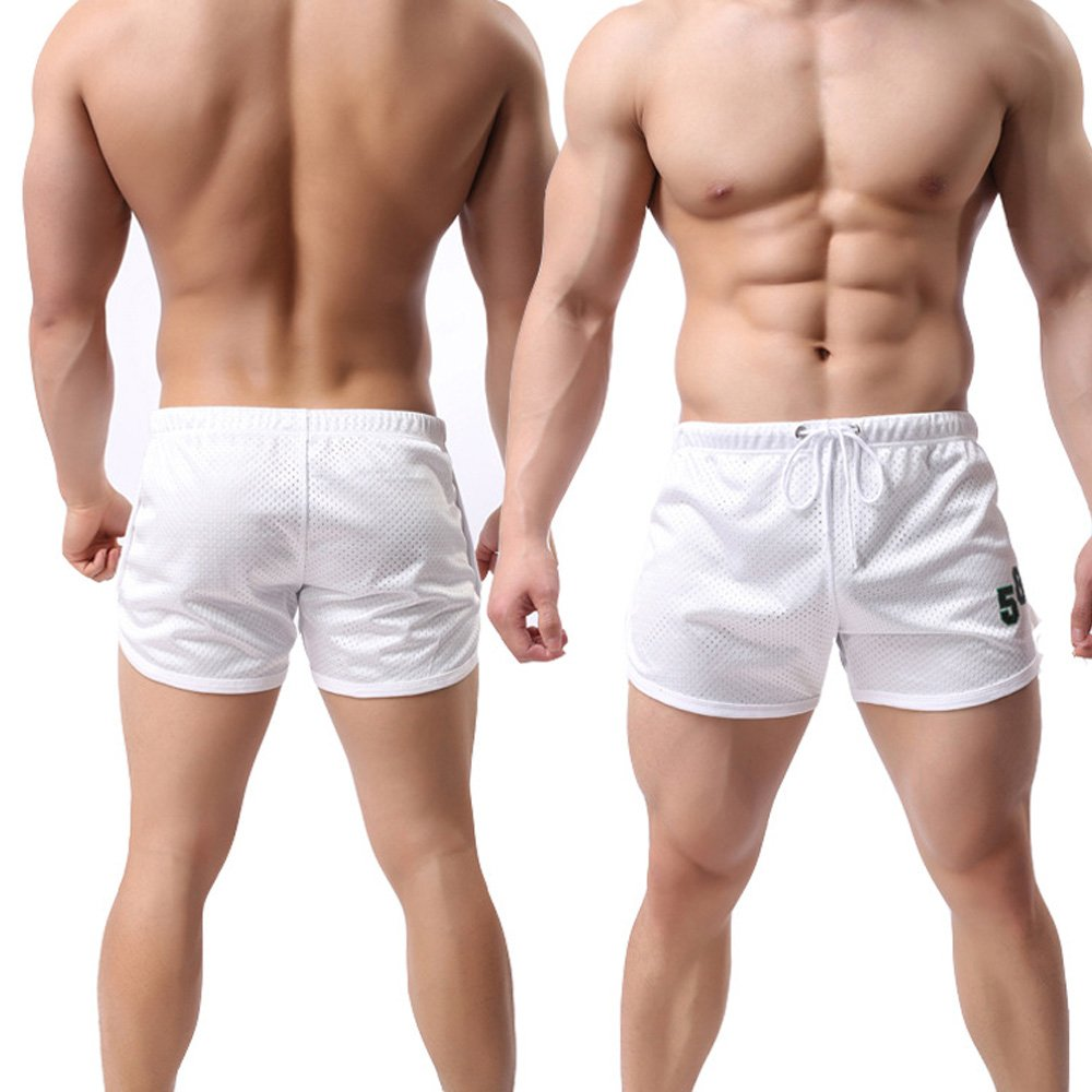 EVERWORTH Men's Fitted Workout Shorts Gym Bodybuilding Running Boxing Shorts Training Mesh Short Pants White L Tag XXL by EVERWORTH (Image #3)