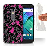 STUFF4 Gel TPU Phone Case / Cover for Motorola Moto X Play 2015 / Random Pink Design / Scatter Stars Collection