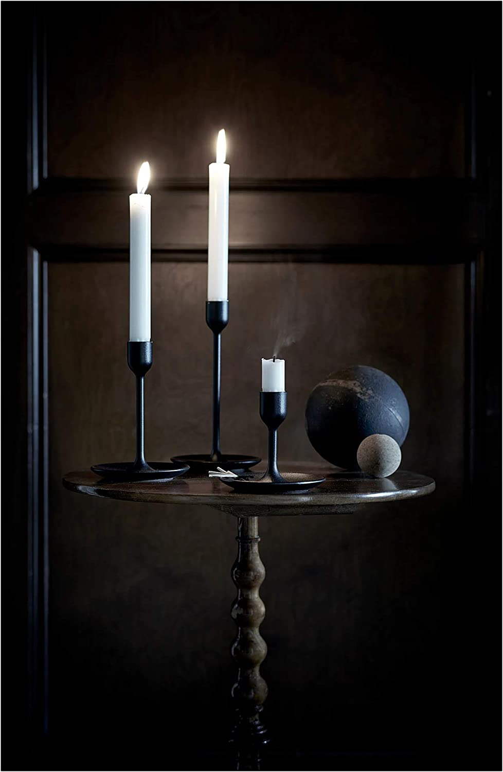 12 cm Weight 18 cm Height 0.58 kg 21 cm Width Length Set of 3 Black Package Size /& Weight Candlestick