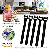 100pc 6 inch Cable Straps, Mekov, Hook and Loop Reusable Fastening Cable Ties Cord Wire Organizer for Home Office Tablet PC TV Wire Management (100 Pack, 6'', Black)