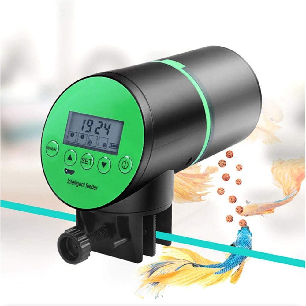 Winbang Comedero de Peces Automáticos, Alimentador Temporizador de Alimentación Dispensador de Alimentos para Peces Recargable con Pantalla LCD para Acuario Pecera, Dispensador de Comida para Peces