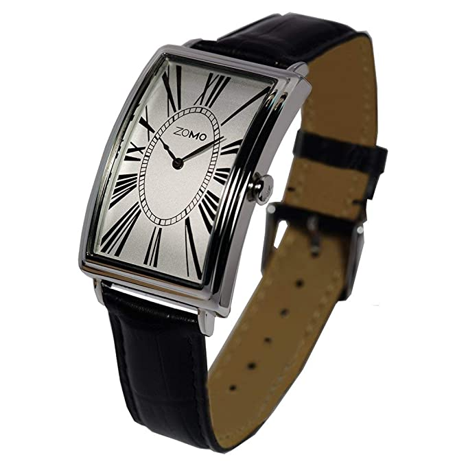 Amazon.com: ZOMO Adore Mens Designer Watch - Swiss Quartz Silver Dial Classic Wrist Watch for Men- Rectangular Stainless Steel Analog Dress Watch with Black ...
