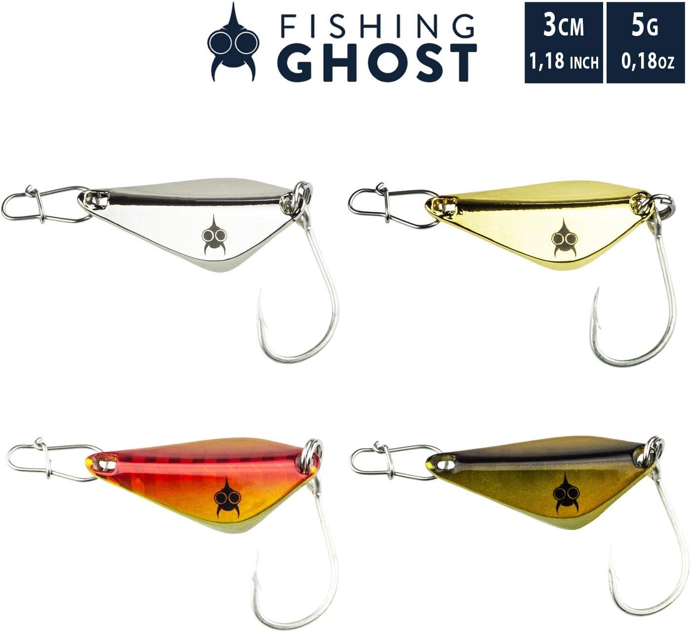 Spoon zum Angeln auf Seeforelle Inhalt 5 Farben mit je 1 Karabiner 4,7cm Zander Meerforelle FISHINGGHOST/® Blinker Set BLISSI 9gr Hecht im Camo Design Waller