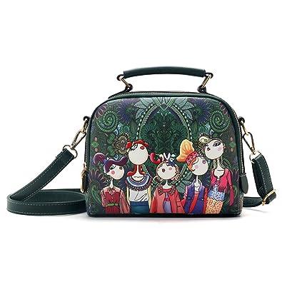 621a5b6baa6c Top Handle Handbags for Women Cartoon Printing Tote Crossbody Bags PU  Leather Shoulder Messenger Bags Large Capacity, Green