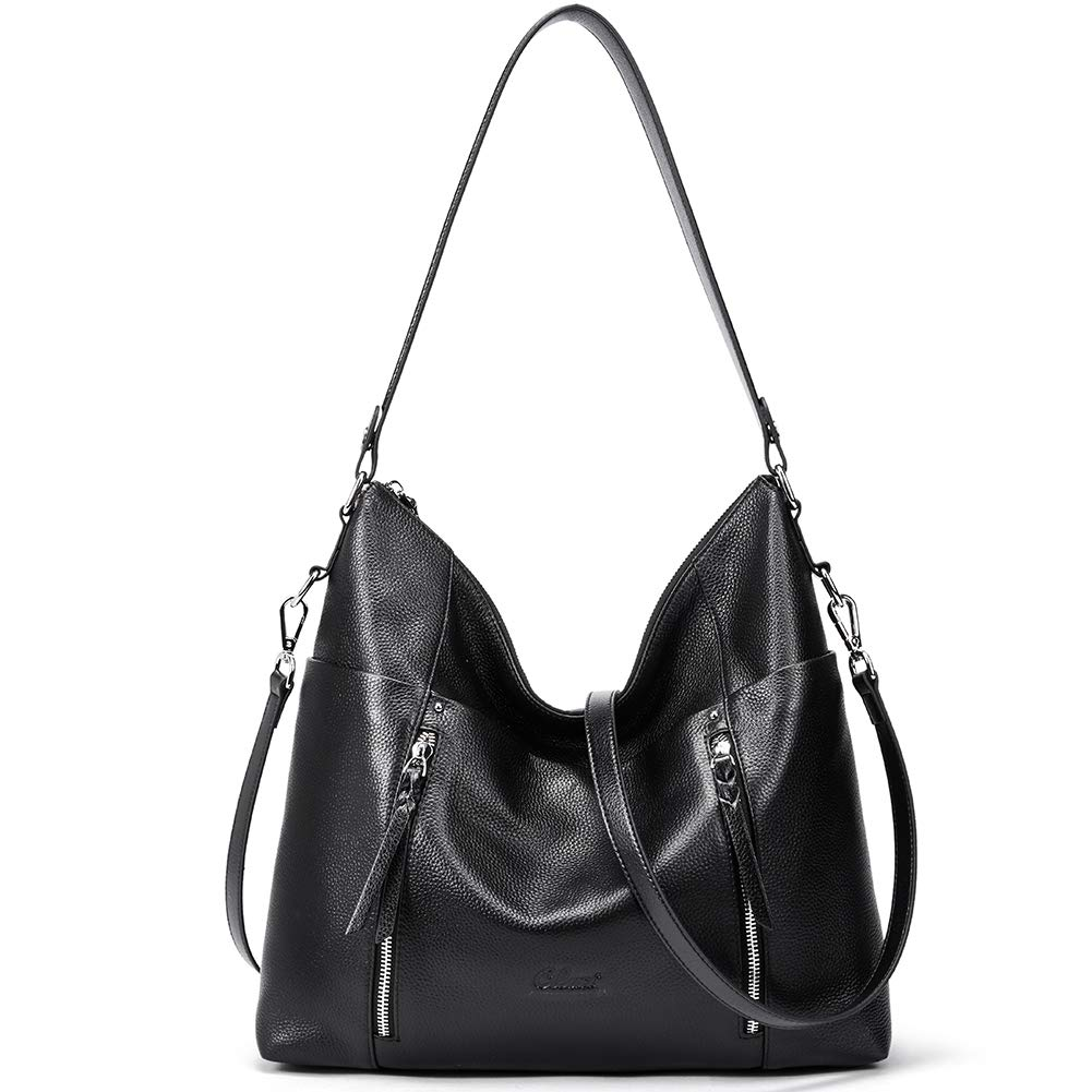 Women Purses and Handbags Soft Genuine Leather Hobo Tote Bag Designer Top Handle Shoulder Bag black