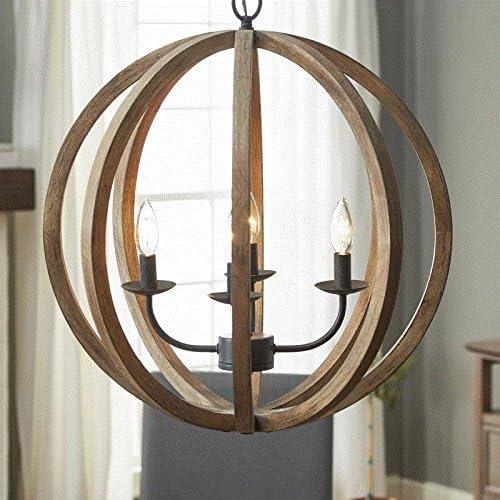 Arteolamp 24 X27 Farmhouse Pendant Light Orb Chandelier Light Wood Wooden Frame Iron Band Sphere Globe Ceiling Light Fixture 4 Lamps