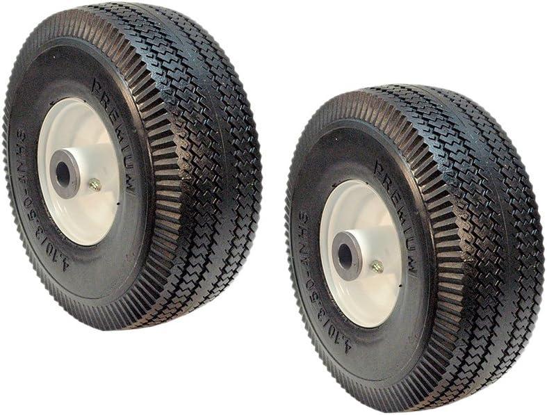 """2NEW 4.10//3.50-4 Flat Free tire fits TORO 117-7386 TIME CUTTER Hub 4.25/"""" 3//4/"""" ID"""