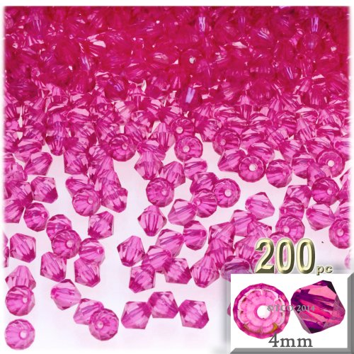 The Crafts Outlet, 200-pc Acrylic Bicone Beads, Faceted, 4mm, Hot Pink -