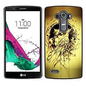 LECELL--Funda protectora / Cubierta / Piel For LG G4 -- pájaro búho pintura de tinta negro tatuaje amarilla --