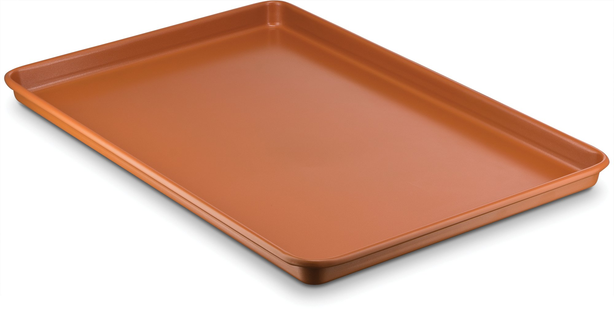 Ceramic Coated Cookie Sheet 17.3'' x 11.6'' - Premium Nonstick, Even Baking, Dishwasher and Oven Safe - PTFE/PFOA Free - Red Cookware and Bakeware by Bovado USA by BOVADO USA (Image #1)