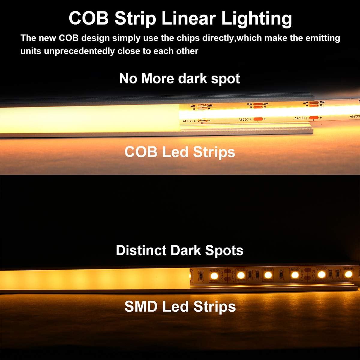CCT COB led strip 608led//m DC24V cri90 Tunable Dual led strip without dark spot