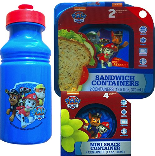 (Paw Patrol 3 Piece Lunch Gift Set Includes Paw Patrol 18 Oz Pull-top Water Bottle , Paw Patrol Sandwich Containers and Lids 2 Pack with 4 Mini Snack Containers)