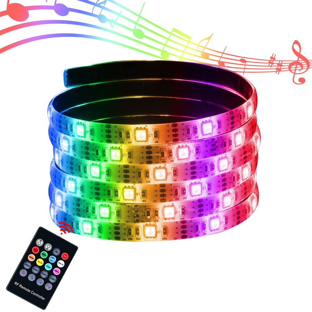 XYOP LED Strip Lights Sync to Music, USB Powered Music Strip Lights Remote LED Strip Rope Lights Color Changing Lights Waterproof LED String Lights Kit Home Party Bar Wedding Decor-7.5Ft/2.5M