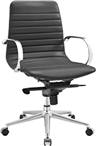 Modway Groove Ribbed Back Faux Leather Office Chair in Gray