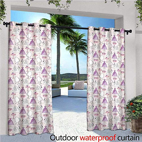cobeDecor Swan Patio Curtains Princess Dress Gown Magic Shoes Mirror and Cute Swans with Tiaras Pattern Outdoor Curtain for Patio,Outdoor Patio Curtains W96 x L84 Lavander Blush White (Basketball Shoes T-mac)