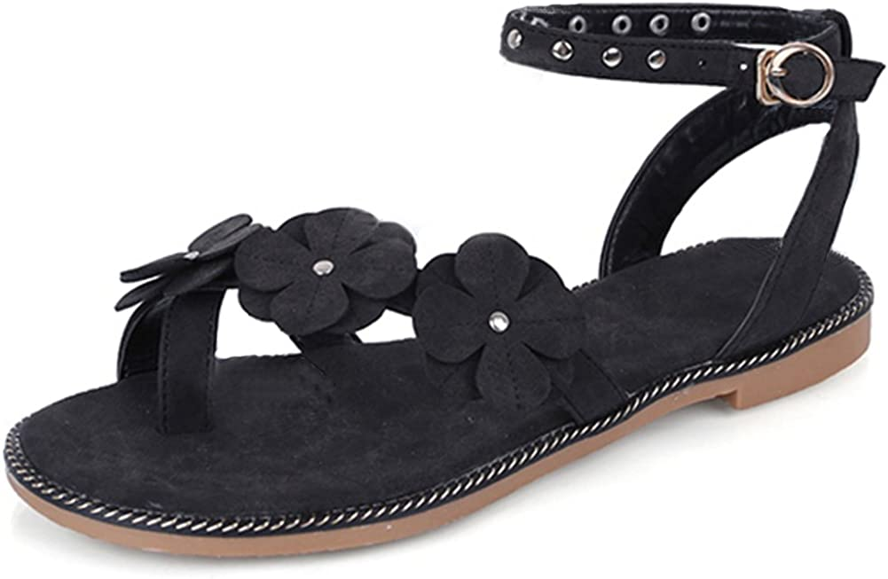SaraIris Womens Flat Heel Open Toe Summer Shoes Rivet Decoration Ankle Strap Dress Casual Sandals