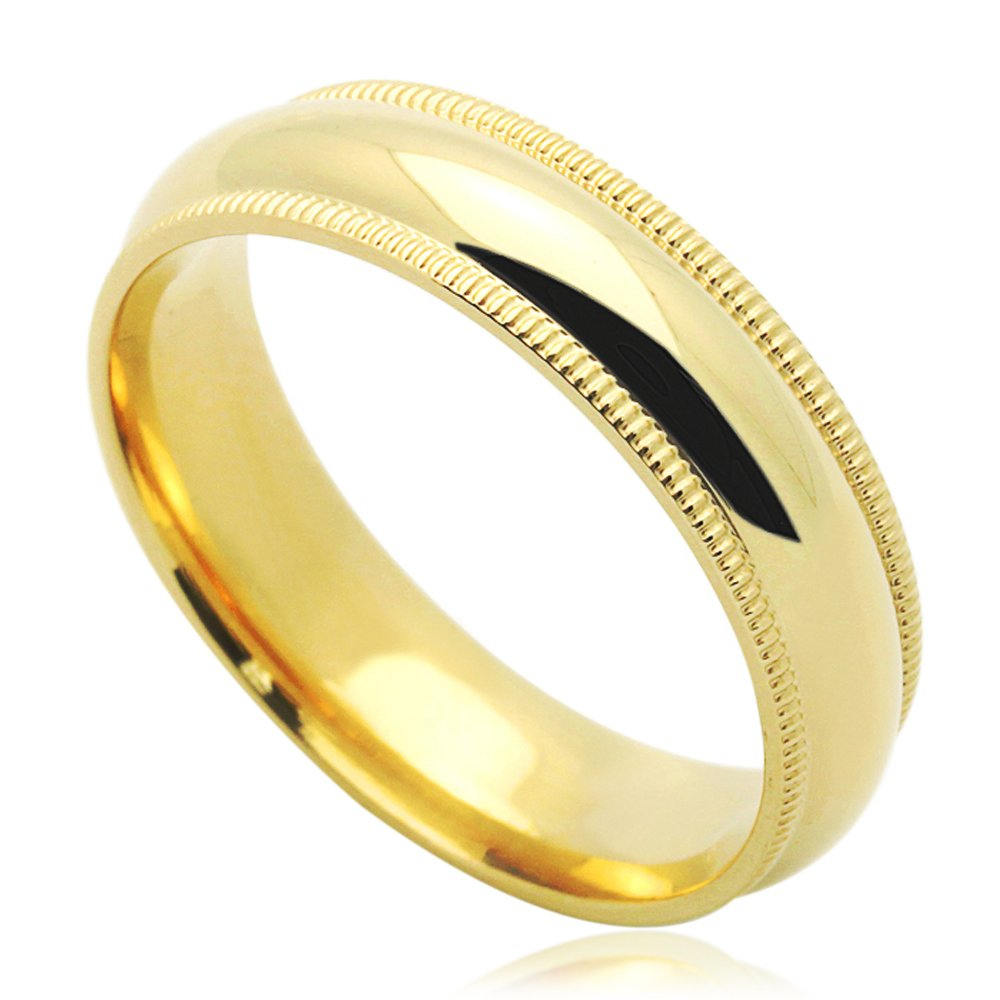 14K Yellow Gold 5mm Comfort Fit Milgrain Plain Domed Wedding Band Size 5 to 12