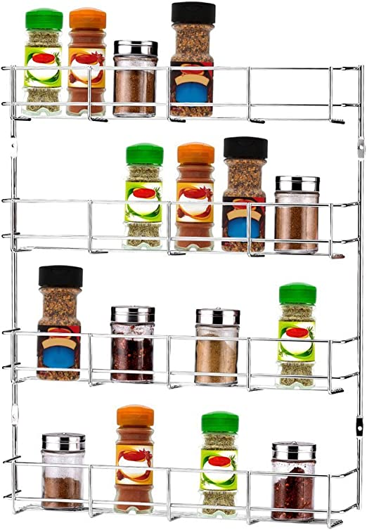 Household Items and More 4 Tier Wall Mount Spice Rack Black Kitchen Spice Bottles Holder Stand Shelf Display Organizer Great for Storing Spices