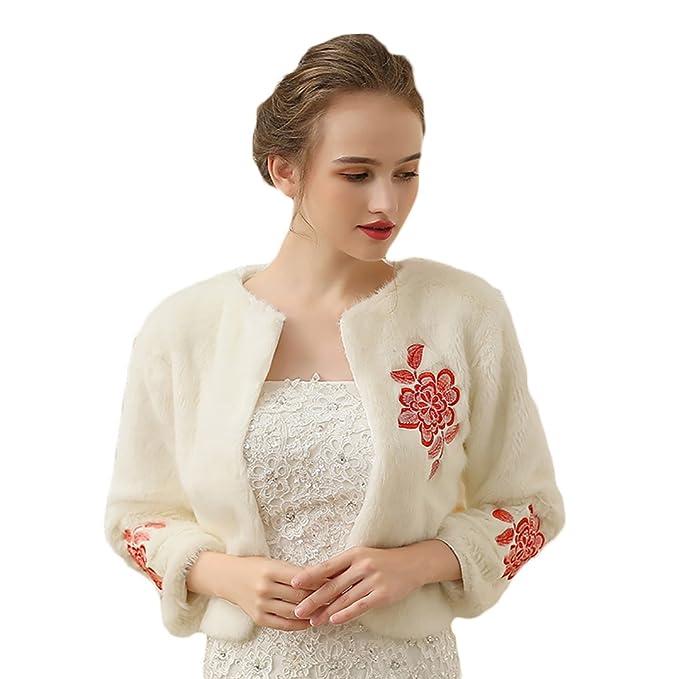 Insun Donna Ricamato Floreali Scialle Morbido Coprispalle Nuziale Stile  Bolerino con Sposa bianco  Amazon.it  Abbigliamento 35846a16bea7
