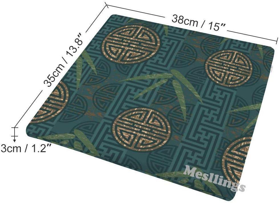 carr/é Mesllings Coussin de chaise en bambou vert fonc/é avec motif chinois imprim/é /à la maison confortable et confortable coussin de chaise de bureau 38,1 x 35,6 cm