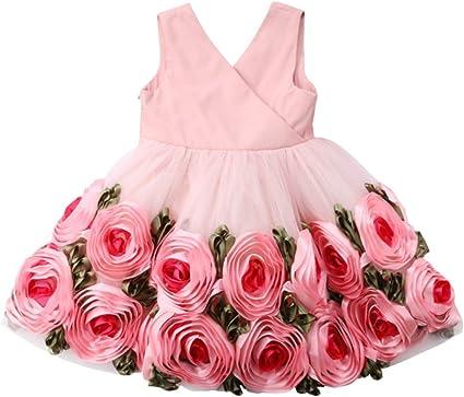 Toddler Infant Baby Girls Ruffles Rose Floral Print Patchwork Princess Dresses