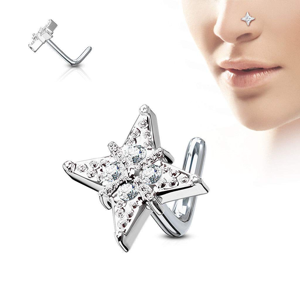 rini/_mc2 1 Pc Clear CZ Star Surgical Steel L Bend Stud Nose Rings 20G