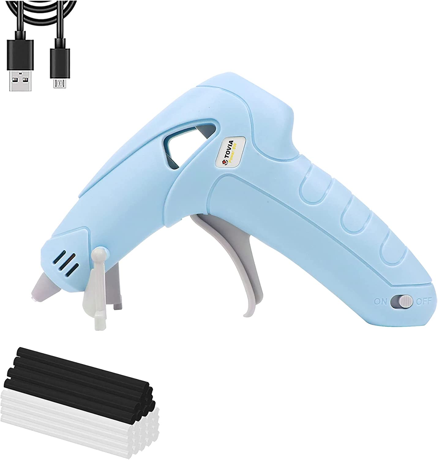 T TOVIA Wireless Hot Glue Gun, Battery Operated Mini Cordless Rechargeable Hot Melt Gun Kit with 30pcs Clear and Black Glue Sticks for Children Adults DIY Crafts, Home Decoration, Daily Repairs(Blue)