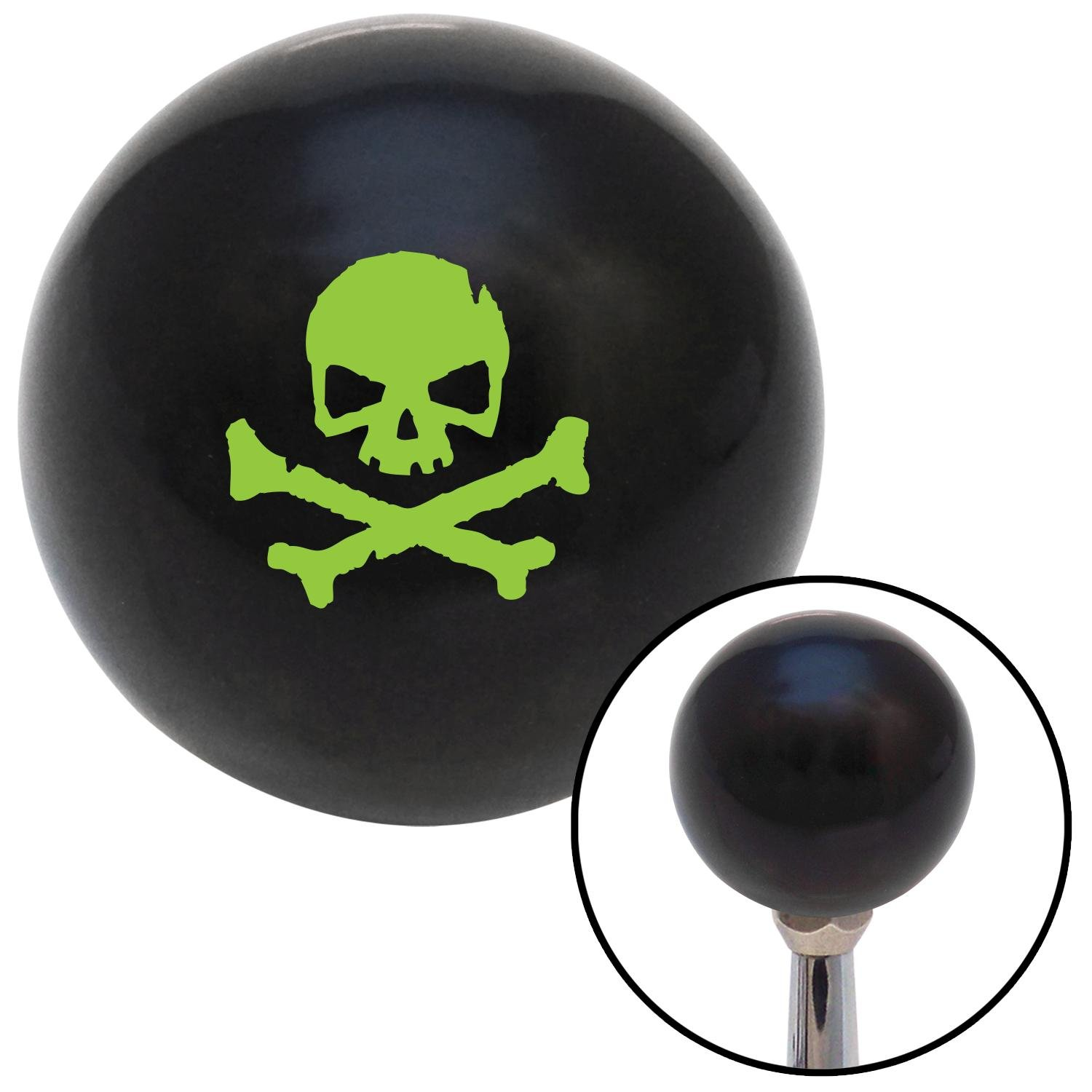 Green Skull 1 American Shifter 109354 Black Shift Knob with M16 x 1.5 Insert