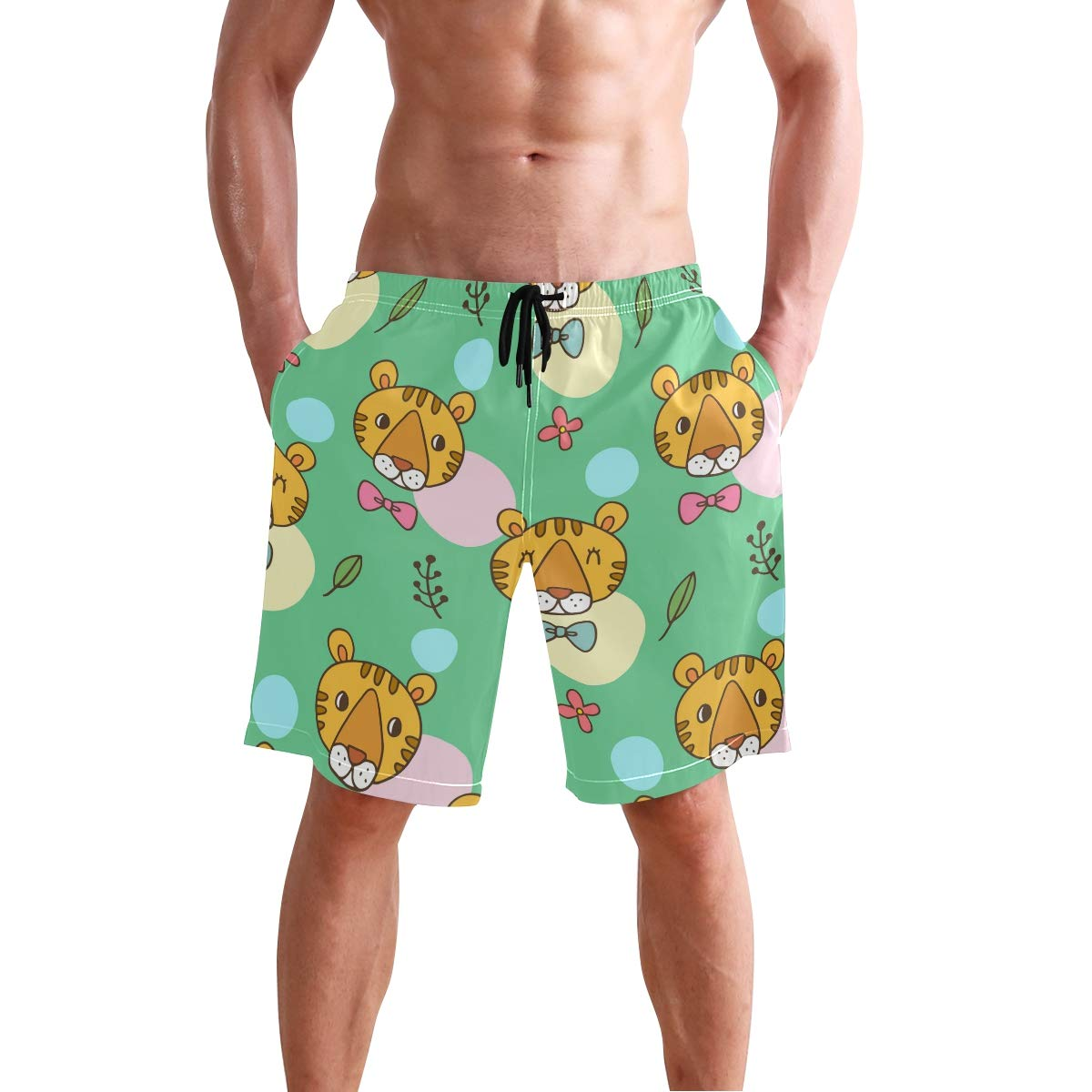 JERECY Mens Swim Trunks Cute Cartoon Tiger Face Bow Pattern Quick Dry Board Shorts with Drawstring and Pockets