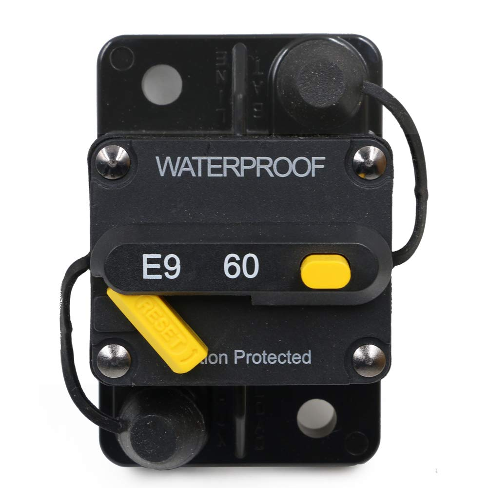 T Tocas 60 Amp Circuit Breaker Trolling with Manual Reset, 12V- 48V DC, Waterproof (60A)