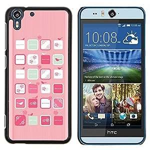 Stuss Case / Funda Carcasa protectora - Pink Bird Art mujer femenina Flores - HTC Desire Eye ( M910x )