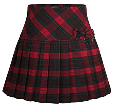 92bd9a6b892354 chouyatou Women's A-Line Plaid Wool Blend Pleated Skirt Side Zipper (X-Small