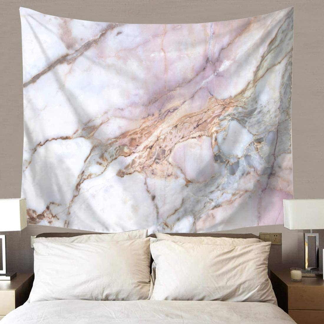 TSDA Pink Marble Tapestry Wall Hanging Pink and Gray Tapestry for Living Room Bedroom Dorm Home Decor (Small-59 x 51 In)