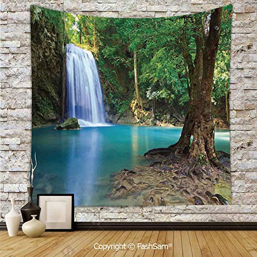 FashSam Tapestry Wall Blanket Wall Decor Waterfall Asia Thailand Jungle Tropic Plants Trees Waterscape Tourist Attraction Home Decorations for Bedroom(W51xL59) -