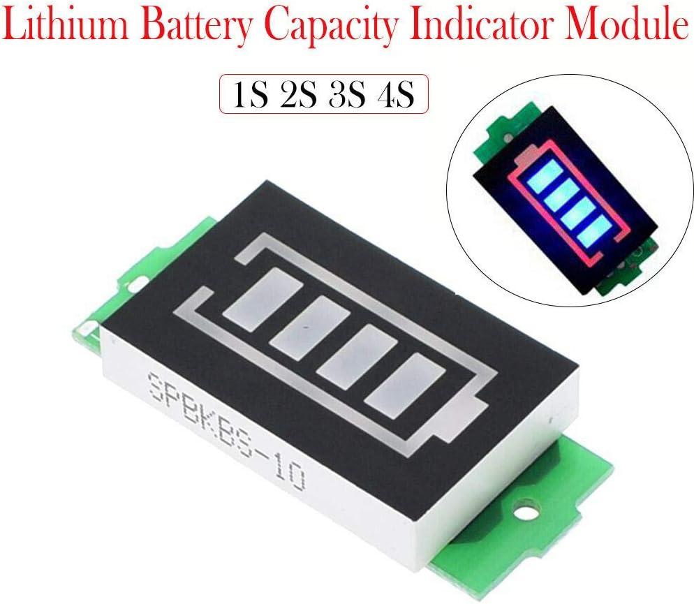 schwarz SENRISE Batterietester mit LED-Display Lithium-Batterie-Kapazit/ätsanzeige 1S, 4,2 V, 1 St/ück
